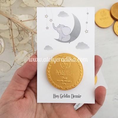 Fil Tasarımlı Altın Para Çikolata