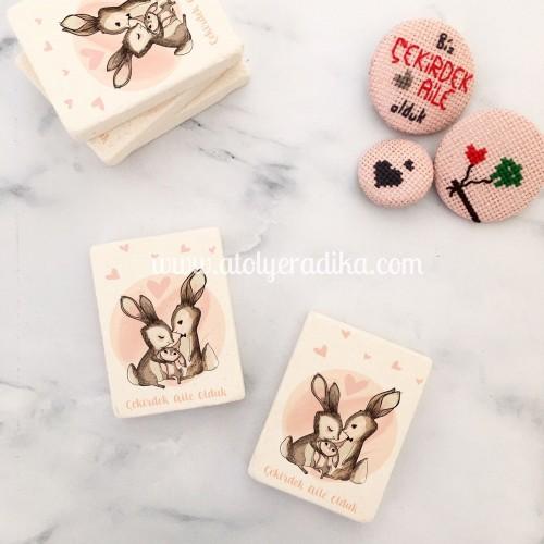 Tavşan Temalı Taş Magnet
