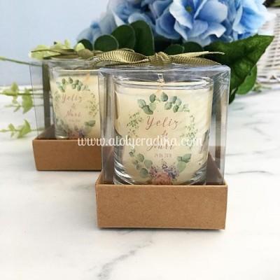 Şeffaf Etiketli Çiçek Tasarımlı Kutulu Bardak Mum