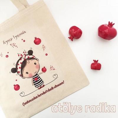Narlı Kız Doğum Günü Hediyelik Bez Çanta