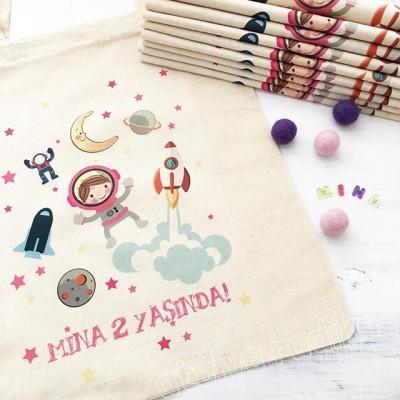 Uzay Temalı Doğum Günü Hediyelik Bez Çanta