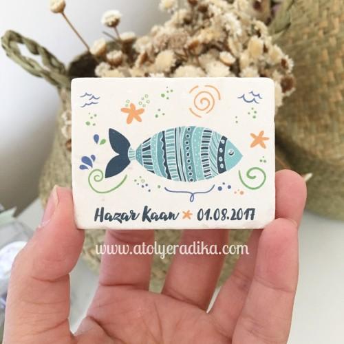 Balık Tasarımlı Taş Magnet