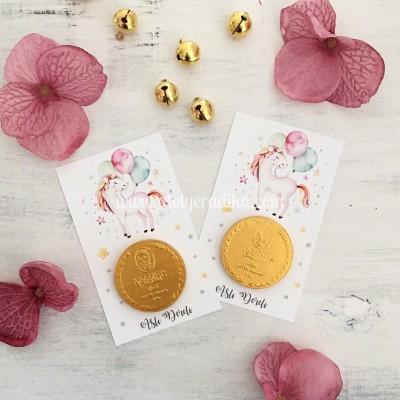 Balonlu Unicorn Temalı Altın Para Çikolata