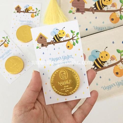 Arı Tasarımlı Altın Para Çikolata