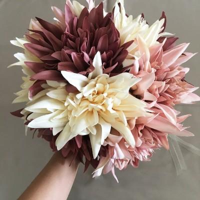Pastel Renkli Yıldız Çiçeği Gelin Buketi