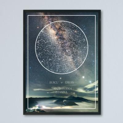 Manzara Temalı Gökyüzü Haritası Posteri