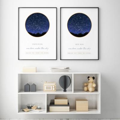 Gece Görselli Gökyüzü Haritası Posteri