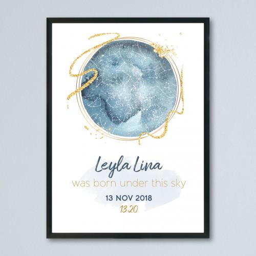 Dünya Temalı Gökyüzü Haritası Posteri