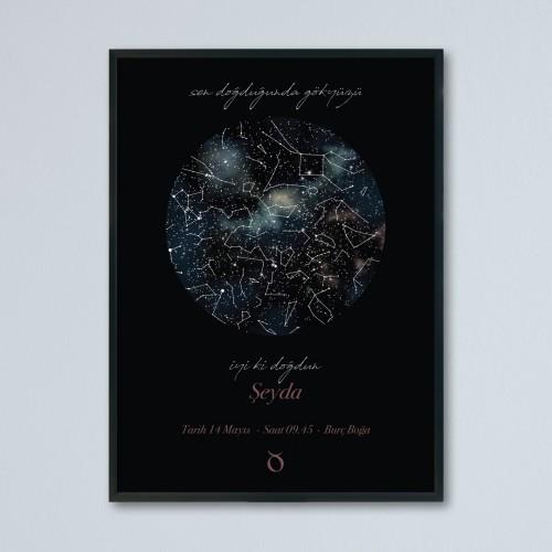 Doğum Günü Temalı Gökyüzü Haritası Posteri